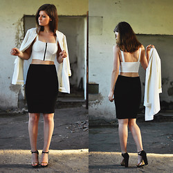 Aurelia K. - Bershka Crop Top  , Zara Sandals  , H&M Blazer  , Stradivarius Skirt   - Crop top!