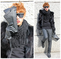 Romar Malabug - Mint Studded Sunglasses, Something Borrowed Scarf, Turtle Neck, Fur Jacket, Folded & Hung Leather Pants, Oxygen Leather Bag, Nafnaf Studded Boots - Black Swan