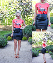 MEDIAMARMALADE ; BRITISH BLOGGER - H&M Leather Skirt, Brakeburn Flamingo Top - SARTORIAL JUXTAPOSITION - mediamarmalade