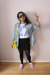 S Z - Primark Denim Shirt, Bank 27 Crop Tee, Zara Neon Bag, New Look Bodycon Skirt, Vans Lilac Attwood - Twenty7