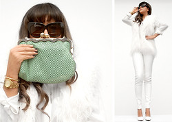 Chic Adventure It! By Giha - Mango Wedges, H&M Faux Fur Vest, H&M Silk Blouse, Zara Clutch, House Of Harlow 1960 Sunglasses, Marc By Jacobs Watches - White Winter