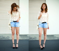 Christine Y - Forever 21 Lace Top, Gap Diy Denim Shorts, Zara Heels - See-Thru Lace on a Hot Summer Day