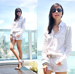 Gillian Uang - Aeropostale White Polo, Guess? White Shorts, Tutum Shop Hologram Sandals - Skyline
