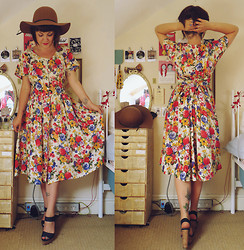 Little L - Urban Outfitters Felt Hat, Kilo Shop (Paris) Tea Dress, Next Demi Wedge Sandals - Parisian country garden.