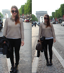 Dasha Romanova - The Kooples Pants, Jeffrey Campbell Boots, Prada Sunnies - Arc de Triomphe