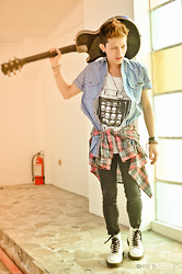 Adrian Leander - Old Navy Plaid Shirt, Dr. Martens White Boot - RIOT!