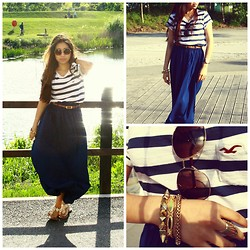 Boonya R - Hollister Stripy Top, Primark Spiky Bracelet, Topshop Multicoloured Bracelet, Topshop Sunglasses, Topshop Ring, Michael Kors Gold & Leather Watch, H&M Flowery Sandals, Primark Maxi Skirt - Stripes and maxi skirt