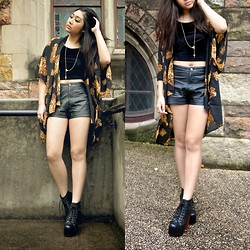 Kiki Nicole Suen - Dissh Cape, I Like Wolves Velvet Crop Top, Valley Girl Leather Shorts, Jeffrey Campbell Lita - In the name of the Father †