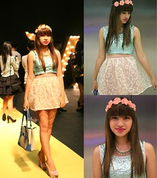 Rach Nathanielsz - Forever 21 Sequined Cropped Top, Sweetiepies Skater Skirt, Le Papillion Necklace, Forever 21 Floral Headpiece, Primadonna Pastel Pink And Snakeskin Wedges, Hermës Bag - Magnum at Fashion Week (please re-hype!)