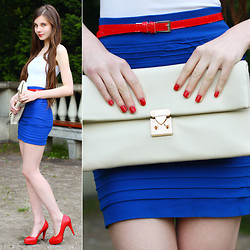 Ariadna Majewska - H&M White Top, Fancy Dress Store Blue Skirt, Red Belt, Toria Blanic Red Leather Heels, Vj Style Cream Clutch Bag - Bandage skirt