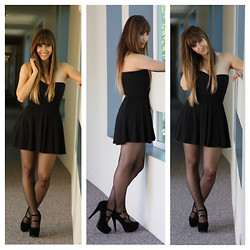 Kayla Barr - Nameless Bandage Strapless Top, H&M High Waist Skater Skirt, H&M Sheer Tights, Double Strap Mary Jane Pumps - Back to Black
