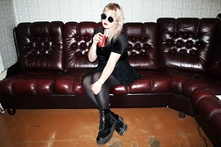 Thelma Malna - Round Sunglasses, 2nd Hand Velvet Top, Ebay Kilt Skirt, Dr. Martens Aggy 1490 Boots - SHARE A COKE WITH ME PLZ