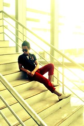 Rald Navarro - Premium Denim, Simple Blue Shirt, Tom Ford Vintage Glass - EXIT  Stair Case
