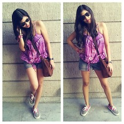 Erika Aguilar - Mossimo Purple Top, Vans Gray With Pink Detail Kicks, Mossimo Brown Body Bag - Something Casual