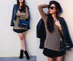 Jenny Ong - Lovers + Friends Dress, Rag & Bone Newbury Boots, Proenza Schouler Ps11, Ray Ban Oversized Wayfarers - Some mesh