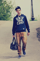 Pavel Ipatov - New Era Cap, Terranova Sweater, Pull & Bear Jeans, New Look Sneakers, Oodji Bag - Some casual