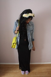 S Z - Primark Denim Shirt, Primark Floral Headband, Zara Neon Satchel, H&M Split Maxi Dress, Vans Attwood - Split Maxi
