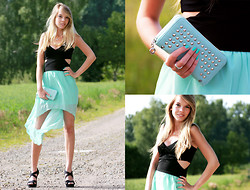 Nina W - Clutch, Cut Out Top, Mint Skirt - It's time to live it up