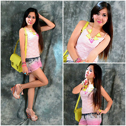 Dalz Salas - Neon Yellow Satchel Bag, Https://Www.Facebook.Com/Tatibbubbles?Fref=Ts Neon Graphic Necklace, Https://Www.Facebook.Com/Stylehiveboutique?Fref=Ts Diy Ombre Shorts - Neon Flash :)
