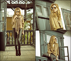 Giuliana ♡ - Zara Olive Blouse, Marc By Jacobs Heart Necklace, Gift Gold Necklace, Figis Jeggings, Louis Vuitton Brown Scarf, H&M Aviator Sunnies, Forever 21 Brown Bootis - Creepy Old Town House