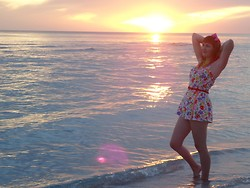 Lilly Pink - Read More, Vintage Playsuit / Bathing Suit, Pink Bow - My Last Florida Sunset