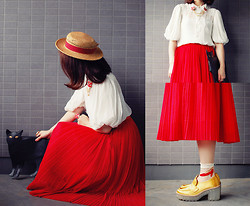 Shan Shan - Romwe Bag, Vintage Skirt, Comme Des Garçons Blouse, Acne Studios Shoes - Red