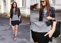 Nika H - Sheinside Jacket, Oasap T Shirt, Vjstyle Bag, Oasap Shoes - Same old skort :)