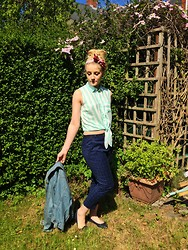 Irma H - Vintage Head Scarf, Primark Shirt, Primark Trousers, Primark Denim Jacket, New Look Pumps - How do you do?