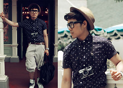 KIKO CAGAYAT - Uniqlo Anchor Print Button Down Shirt, Forever 21 Fedora, Sm Department Store Shorts, Diesel Watch, Calvin Klein Duffle Bag - Meet me at Disneyland