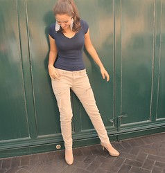 Jo Fernandez - Cynthia Rowle V Neck Shirt, Be Rop Beige Pants, Tahari Nude Pumps - They said I looked like Harry Styles