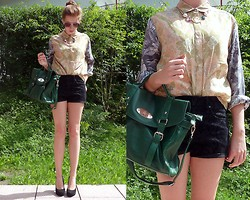 Julia C. - Satchel, Shirt, Asos Necklace, H&M Shorts, Helen Billkrantz Pumps - Find your love