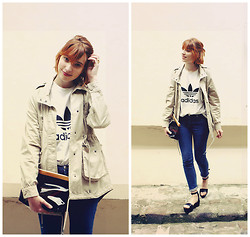 Typhaine - Monki Jacket, Adidas Tee, A.P.C. Jeans, A.P.C. Bag, Topshop Shoes - APC transparent bag.