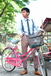 Reyner Cadapan - Pastel Blue Longsleves, Bench Chinos, Thrift Store Brown Leather Shoes, Black Necktie, From My Sister Woolly Suspender - PISTOL