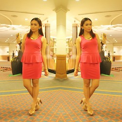 Lesly D. - Pink Peplum Dress, Privileged Nude Platforms, Tlb Gold Necklace - Fine Dining