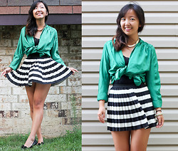 Angie C - Pitaya Green Satin Tie Kimono, H&M Striped Pleated Mini Skirt - She fought the jaded kimonos as she earned her first stripes