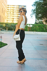 Yuka I. - Ray Ban Clubmasters, Zara Crop Top, Cheap Monday Bag, Joe's Jeans Suede Joggers, Sam Edelman Sandals - Summer neutrals