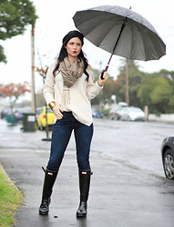 Kelly Nicole - J Brand Skinny Mid Rise, Hunter Wellies, Dotti Cable Knit Cream, Necklace Indie Chain, Cotton On Beanie Black - You can't have a rainbow, without a little rain. #rainoutfit
