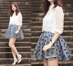 Mayo Wo - Romwe Cut Out Shirt, Romwe Polka Dot Tulle Skirt, Choies Perspex Box Purse, Miu Studded Heels - Cut out checkers