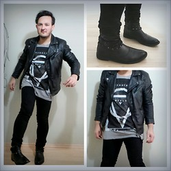 CoffeeSniffer - Pull & Bear Leather Biker, Bershka Studded Boots, H&M Skinny Jeans, H&M Cool Oversized Tee! - Don't want your absolution cause I can't make it right!