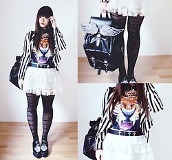 InspiringThing ♡ - Lost Mannequin Wing Backpack, New Look Tights, H&M Creepers, Vintage Stripe Jacket, C&A Cross Belt, H&M Collar - Lost Mannequin