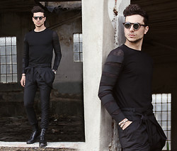 Vladan Gavric - Virgin Blak Sunglasses, Virgin Blak Shirt, Sammydress Pants, Daniel Wellingtion Watch, Oasap Bracelet, Jessica Buurman Boots - BACK TO BLACK - VIRGIN BLAK