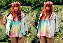 Heather C - Primark Denim Jacket, Unif Rainbow Cake Sweater, N/A Floral Rose Crown (Diy) - U (NI) Fit me better than my favourite sweater
