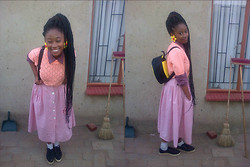 Mpumelelo Nhlapo - Charity Shop Daisy Earings, Knit, Plaid Shirt, Pink Full Skirt, Edgars Tekkies - June 16 Youth day-Preppy :)