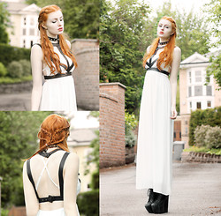Olivia Emily - Creepyyeha Collar, Romwe Harness, Love Strap It Maxi Dress, Jeffrey Campbell Fredas - Plaits.