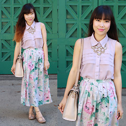 Toshiko S. - Mono B Pleated Chiffon Collar Top, Forever 21 Necklace, Jh Collectives Vintage Floral Maxi Skirt, Melie Bianco Keira Handbag, C. Label Strappy Flats - Romantic Floral