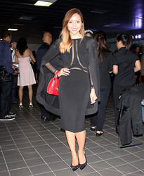 Alexis Coronado - Christopher Paunil Dress, Christopher Paunil Cardigan, Bcbg Slingbacks, Vintage Bag - Canada Philippine Fashion Week Day 1