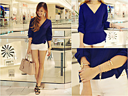 Lina Dinh - Zara Blouse, Zara Studded Denim Shorts, Forever 21 Bracelets, Prada Saffiano, Michael Kors Sandals - The Royal Blues