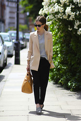 Christine R. - Olive Blazer, Cos Leather Bag, Zara Shoes, Ray Ban Sunnies - From London