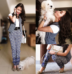 Kim Anne C - Forever 21 Printed Pants, Freshgear Striped Vest, Mango Studded Bag - Playfully Mixed-Up