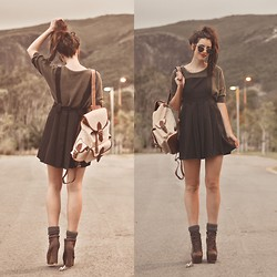 Elle-May Leckenby - Black Pinafore, Brown Leather And Beige Back Pack, Zerouv Vintage Inspired Shades - Into the Mountains